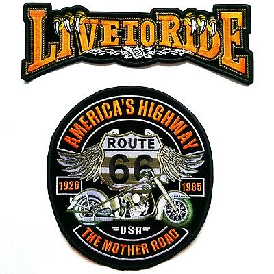 2PC Large Live To Ride+Route 66 Harley Davidson Biker Iron On Vest Jacket Patch