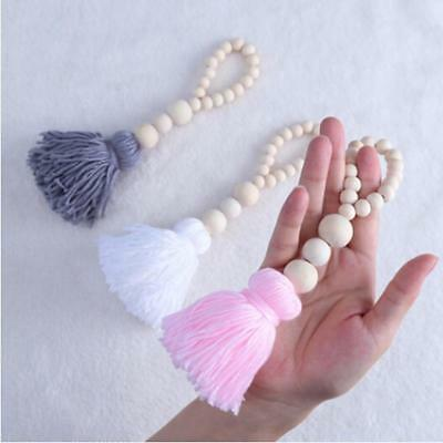 Nordic Style Wooden Beads String With Tassel Tent Wall Hanging Car Home Decor S3