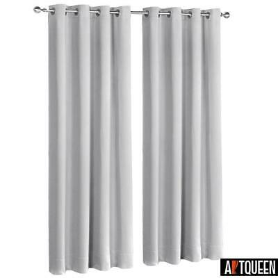 Art Queen 2x Blockout Curtains Eyelet Blackout Window Curtain 3 Fabric Light Gre