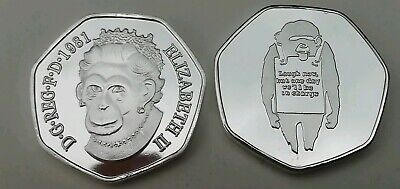 New Rare BANKSY Monkey Ape Laugh Now Commerative Collectors Coin in Capsule 50p
