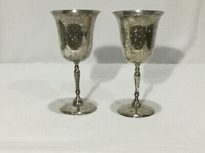 """Leonard E. P. N. S. - Silver Plate Wine Goblets - TWO - 2 - 7 1/2"""" tall - NICE"""
