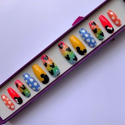 Hand Painted False Nails - XL Coffin (or any) Disney Minnie Mickey Mouse Rainbow