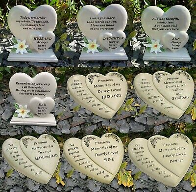 Double Heart Memorial Flower Graveside Remembrance Plaque Garden Tribute Grave