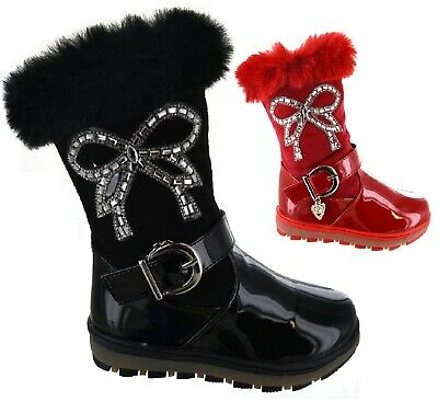 Childrens Bow Diamante Faux Fur Lined Boots Kids Girls Warm Comfort Shoes Size