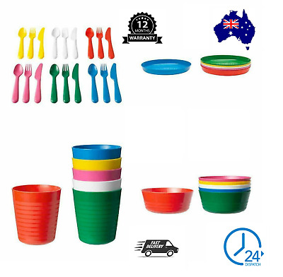 36 Piece IKEA KALAS Baby Kid Dinning Set Plastic Party Bowls Mugs Plates Cutlery