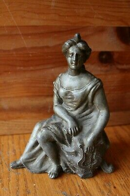 Cast Spelter Statue Figure Woman Girl Playing Roman Harp Vintage Antique Baroque