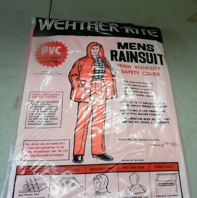 Weather Rite Men's Rain suit High visibility orange Size Large PVC water proof