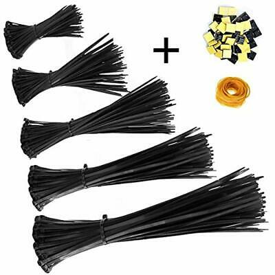 Zip Ties 500 Pcs Nylon Cable Self-Locking 4/6/8/10/12 Inch, Black, UV Resistant,