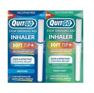 QuitGo Fresh Mint and Cool Menthol Flavored Smoking Cessation Inhaler 2 Pack