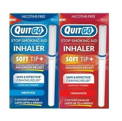 QuitGo Cinnamon and Menthol Flavored Smoking Cessation Inhaler Soft Tip 2 Pack
