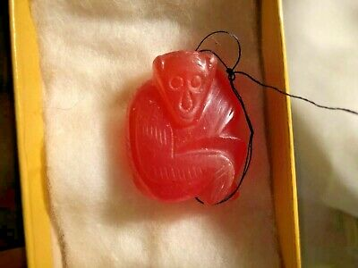 """ANTIQUE CHINESE Asian PENDANT Charm CORAL Carved Monkey 1.5"""""""