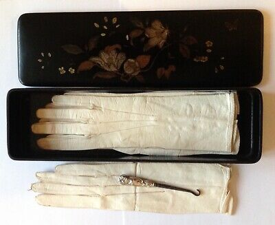 RARE Two Pairs of Victorian Kid Leather Gloves In Original Box With Silver Hook