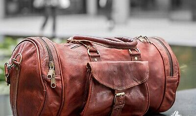 """Round Large Vintage Men Real Leather Tote Luggage Travel Bag Duffle Gym Bag 30"""""""