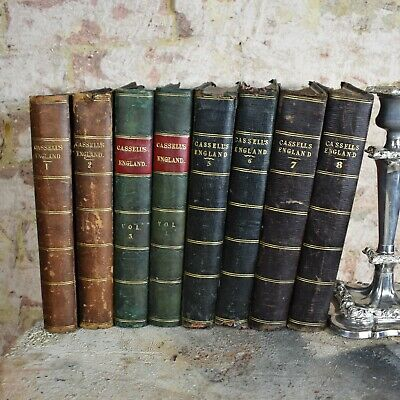 Antique 1857-1964 Cassell's History of England Half Leather Bound Book 8 Vol
