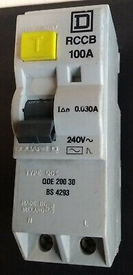 SQUARE D QOE 200 30  RCD / RCCB 100 Amp 30mA BS4293 ! Live Tested ! Double Pole