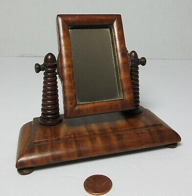 Antique MINIATURE SALESMAN'S SAMPLE CURLY TIGER MAPLE SHAVING MIRROR STAND