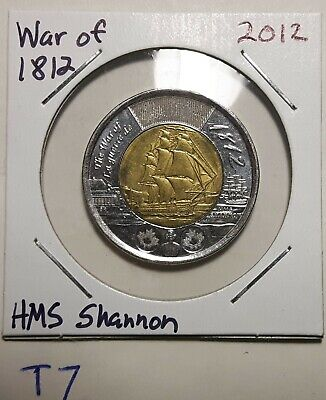 1812-2012 CANADA 2 Dollar War of 1812 HMS Shannon Toonie Coin T7a