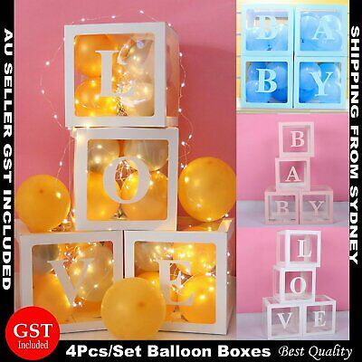 4Pcs/Set LOVE BABY Balloon Box Cube Clear Gift Boxes Birthday Baby Shower Party