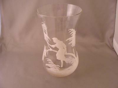 Antique MARY GREGORY Paneled Clear VASE Very Beautiful 1850-1899