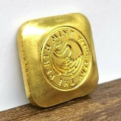Perth Mint 1 oz brass plated, gold bar button replica - FREE SHIPPING FROM VIC.