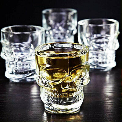 4 Skull Head Shot Glasses Glass Cup Crystal Whisky Vodka cup wine tequila jello