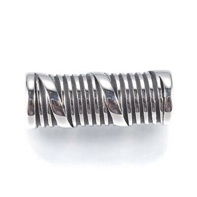 10pcs 316 Stainless Steel Tube Beads Grooved Large Hole Antique Spacers 23x9.5mm