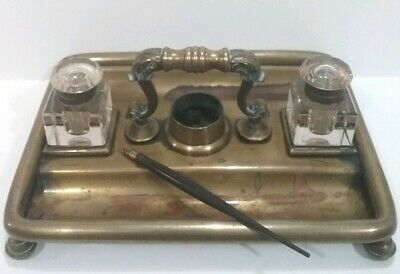 Antique Desktop Brass Inkwell Set Ornate Handle With Glass Inkwells &  Pen RARE
