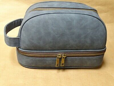 NEW Mens Large Dopp Kit Toiletry Bag Blue/Grey Faux Leather Travel Case