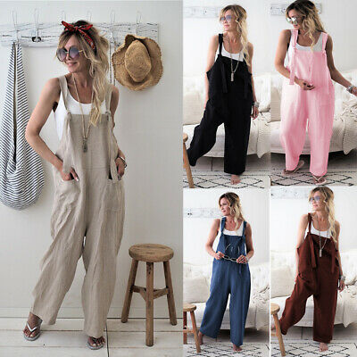 Women Harem Straps Dungaree Jumpsuit Trouser Overalls Playsuits Casual Pants