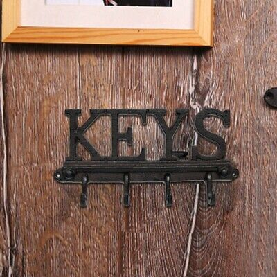 Cast Iron Wall Mounted 4 Hook Key Holder - Rustic, Vintage Style Rack with E3D3