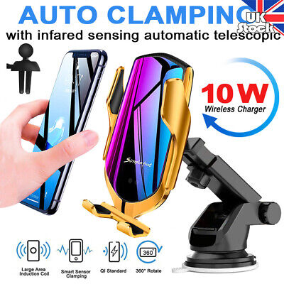 Automatic Clamping Qi Wireless Charger Car Mount Phone Holder For iPhone Samsung