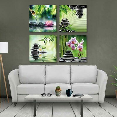 Frameless Canvas Painting Abstract Picture Print Zen Stone and Flowers 4 Panel