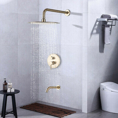 """8""""Brushed Gold Rain Shower Combo Set Wall Mount Tub Spout Luxury Shower Faucet"""