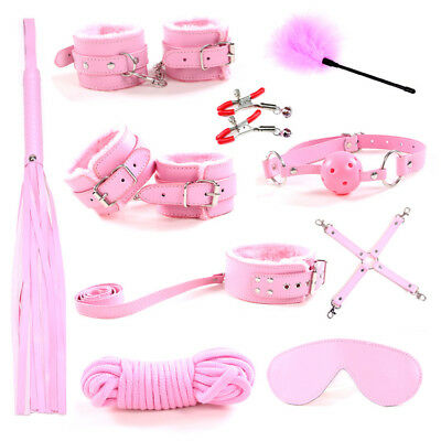 10Pcs Under Bed Bondage Set Restraint Kit Ankle Cuffs Whip BDSM Cozy Feel Toys