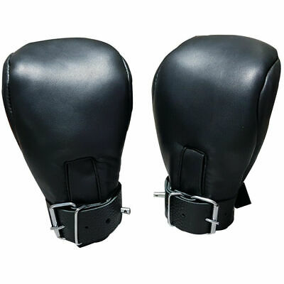Genuine Leather Locking Bondage Padded Mitts Gloves Fetish Bdsm Costume