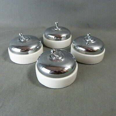 French Set of 4 Electric Chrome & Porcelain Light Switches Toggle Retro Classic