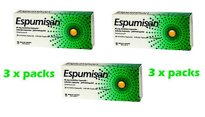 Espumisan 40 mg x 3 Packs - 75 Capsules -  Stomach Aches / Colic / Meteorism