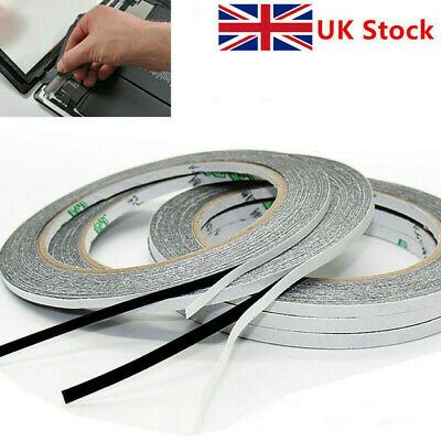 1mm*50m Black Double Sided Tape Adhesive Sticky Rubberized Phone Touch Screen UK