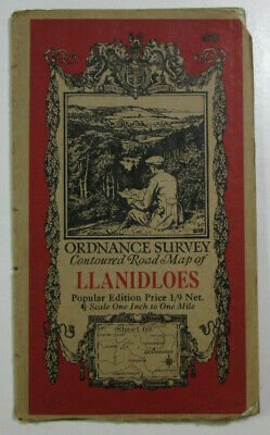 1933 Old Vintage OS Ordnance Survey One-Inch Popular Edition Map 69 Llanidloes