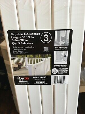 FIBERON 5-PACK HOMESELECT White Square Deck Balusters 33 1/2in Item# 44551  New