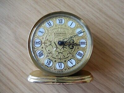 Vintage LOOPING 15 JEWEL 8 DAY CLOCK - Swiss Made - Fully Working inc. Alarm