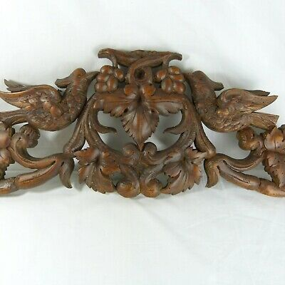 Antique Large French Pediment Fronton Wood Carved Birds & Grapes