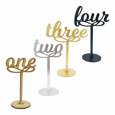 Wooden MDF Table Numbers - 10CM Weddings Parties Gold Silver Natural Black