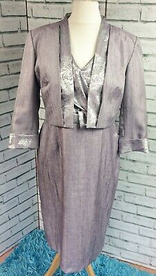 Roman Stunning Grey Shimmer Dress & Jacket Suit Size 14 Mother of the Bride