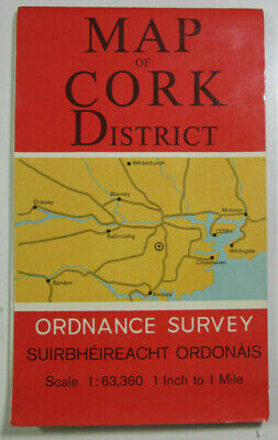 1967 Old Vintage OS Ordnance Survey of Ireland One-Inch Map of Cork District