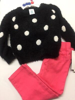 Girls Winter Sweater Outfit Size 12 Month Polka Dot Black Coral Pants 2 Pc Set
