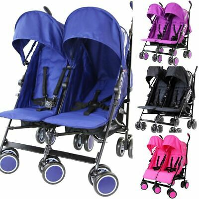 Zeta City Twin Double Baby Toddler Stroller Buggy Pushchair Pram inc Raincover