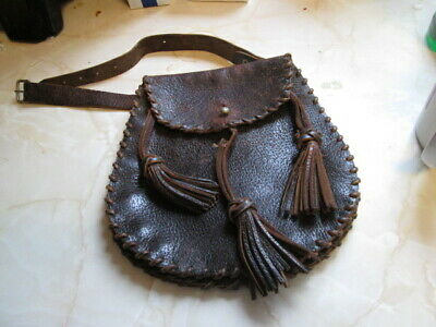 Old Leather Scotish Sporan To Go With Kilt Stiched Seam
