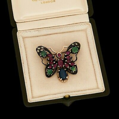 Antique Vintage Deco 14k Gold Emerald Diamond Ruby Figural Butterfly Pin Brooch