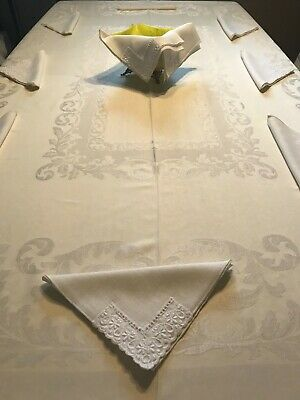 Vintage Butter Yellow Stunning Damask Tablecloth & 10 Co-Ordinating Napkins